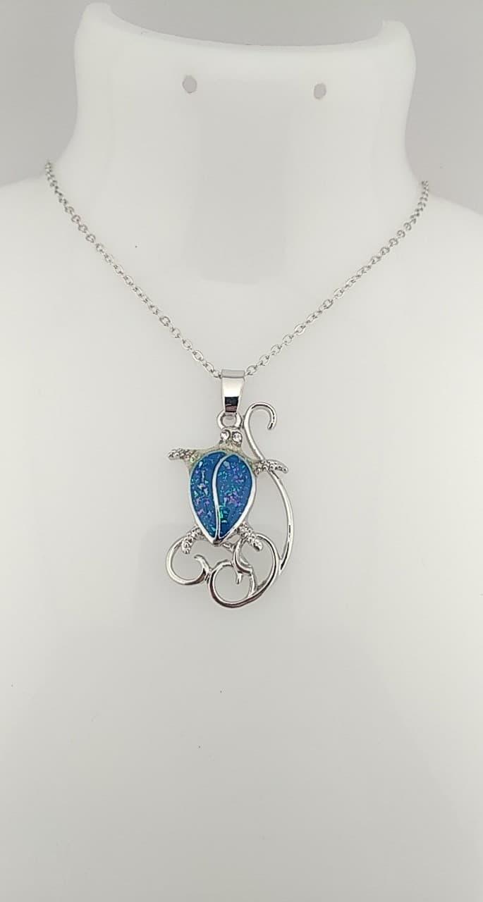 Collier crabe bleu océan