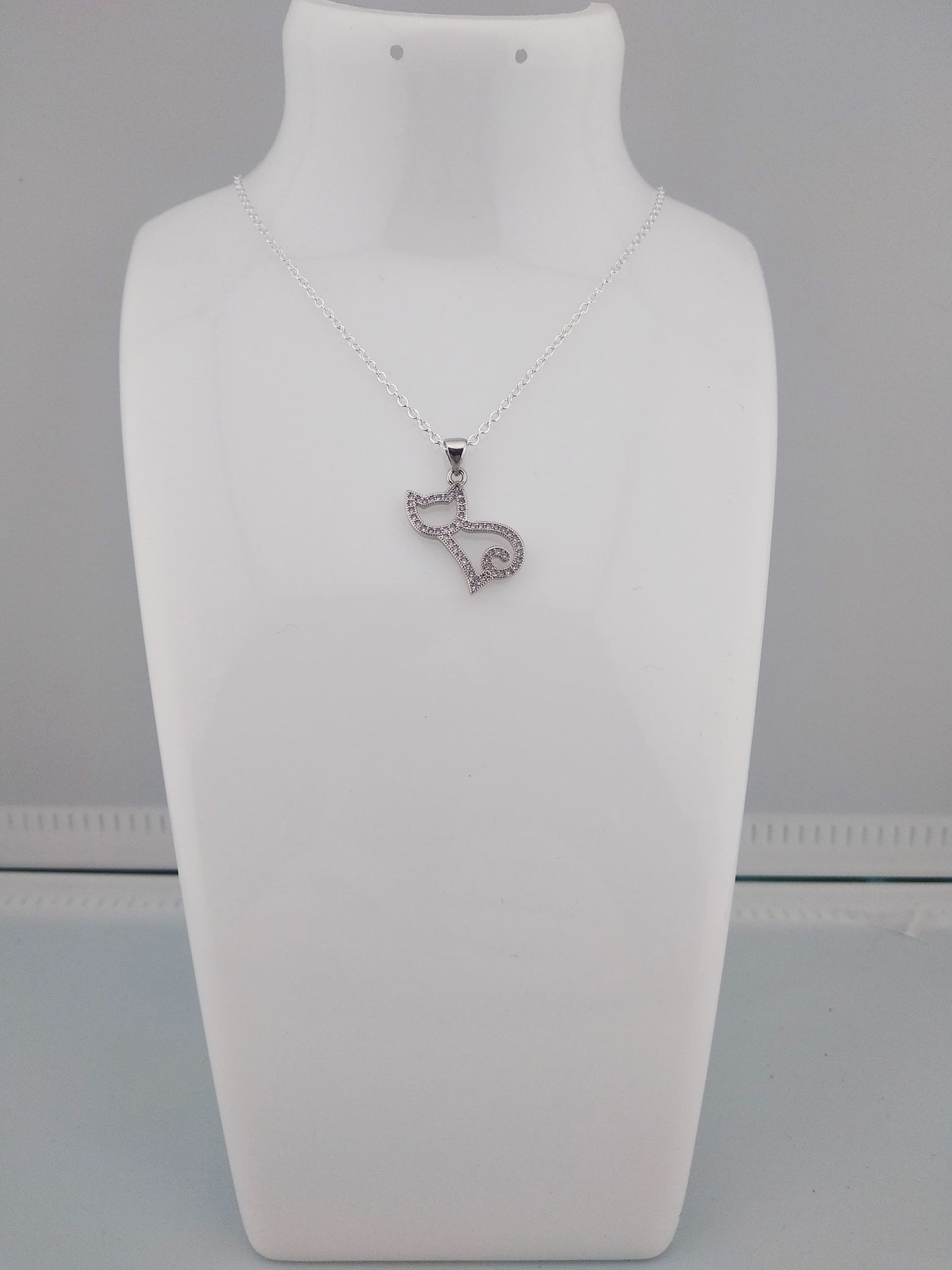 Collier pendentif chat strass