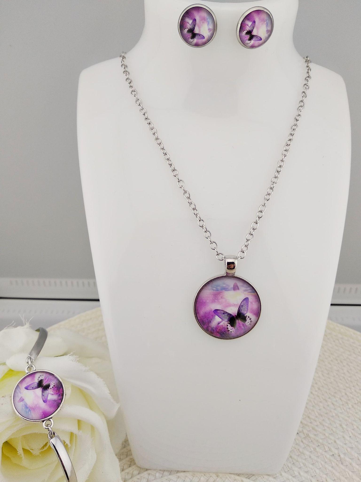 Grande parure papillon violet