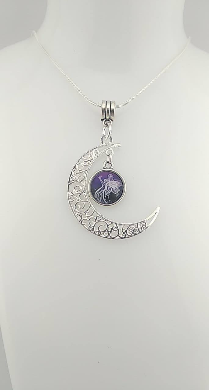 Collier lune cabochon ange