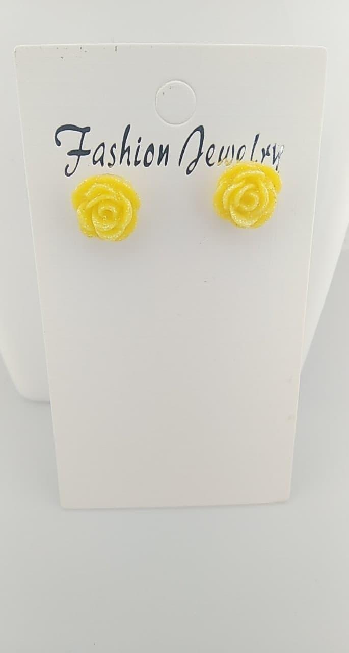 Boucles d\'oreilles Fimo rose jaune