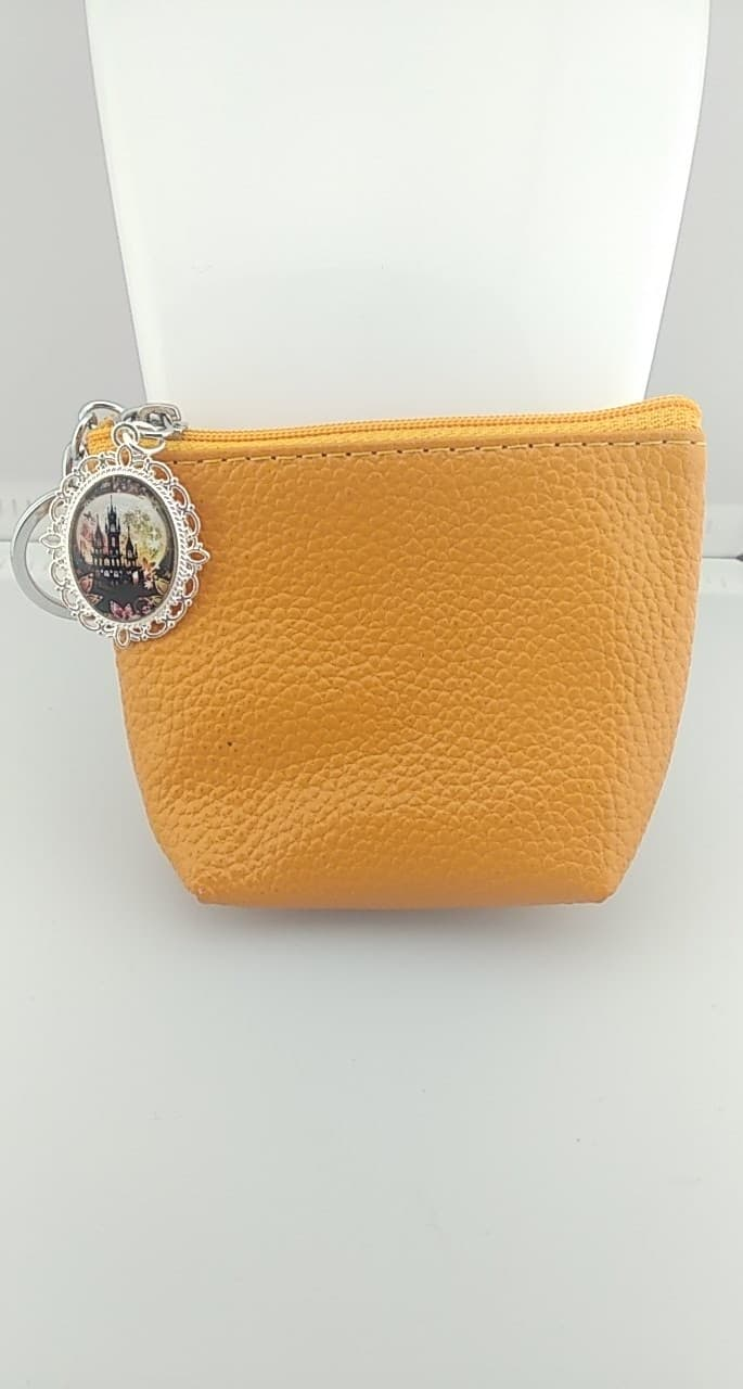 Porte monnaie en simili cuir orange