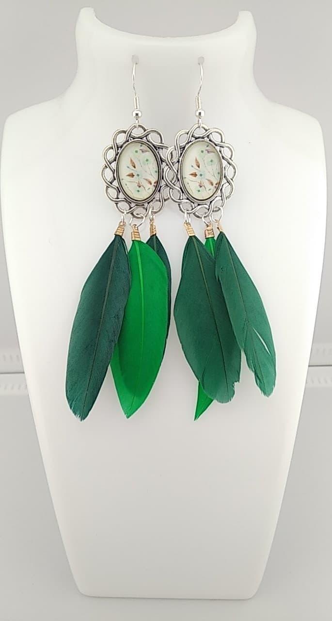 Boucles d\'oreilles plumes vert