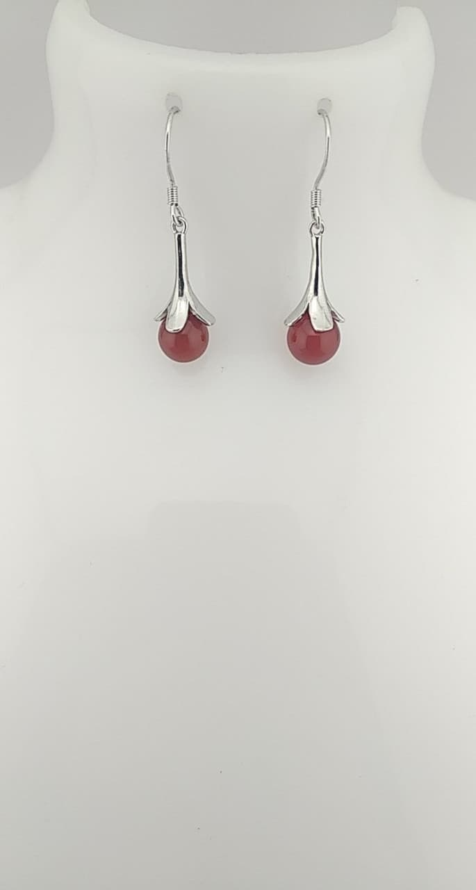 Boucles d\'oreilles perles rouges