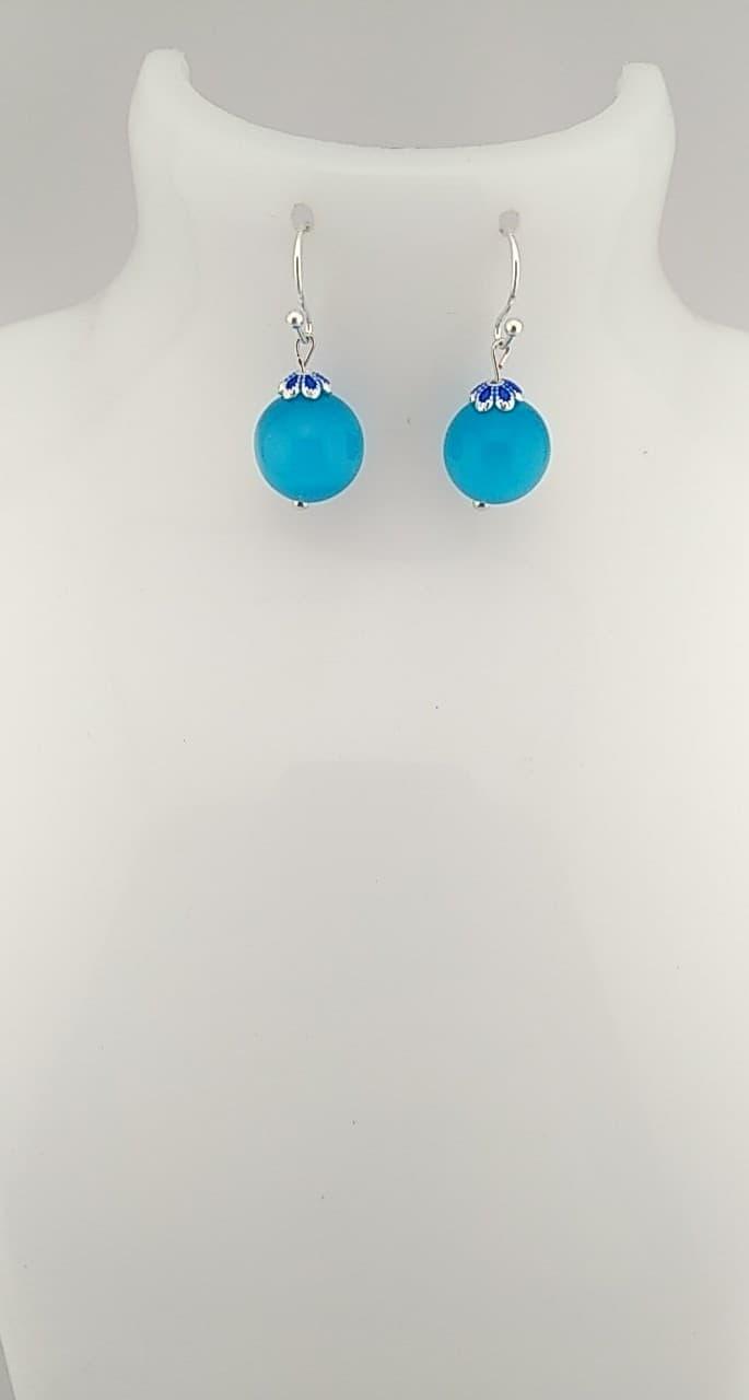 Boucles d\'oreilles perles bleu oeil de chat