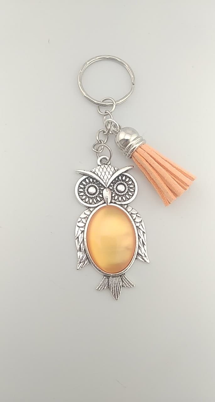Porte clefs hibou orange