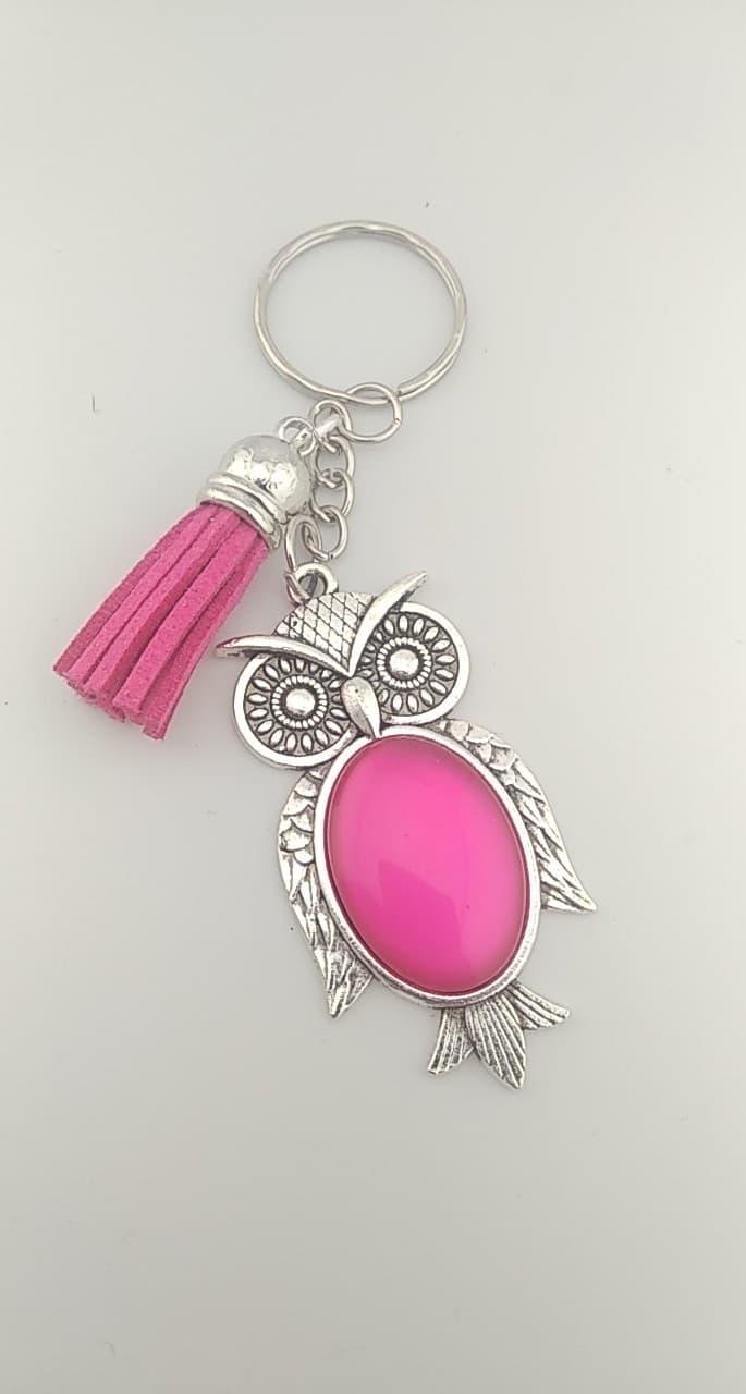Porte clefs hibou rose