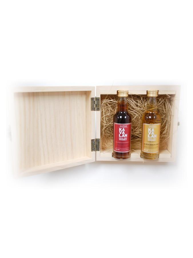 KAVALAN Bourbon & Sherry Cask + 2 Mignonnettes 57% | Coffret en Bois de Dégustation Whisky