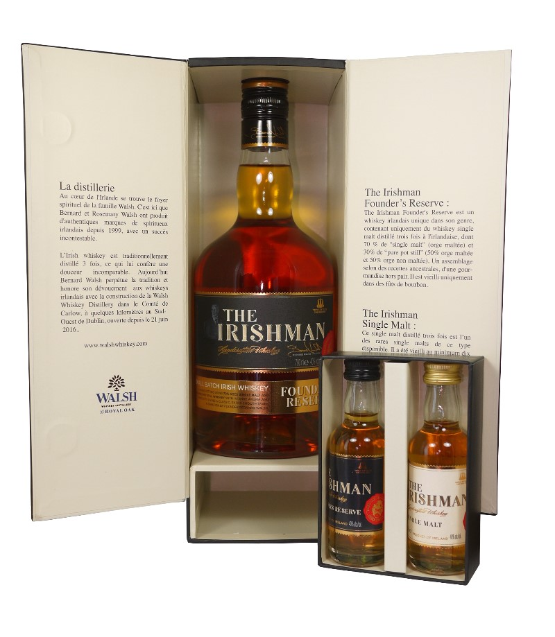 THE IRISHMAN Founder\'s Reserve + 2 Mignonnettes | Coffret Dégustation Whisky