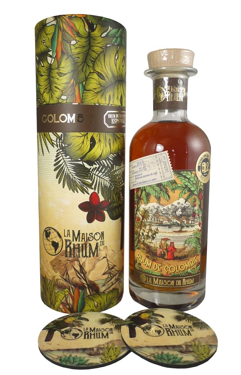 LA MAISON DU RHUM Colombie 46% | Hacienda Coloma | 2 sous-verres inclus