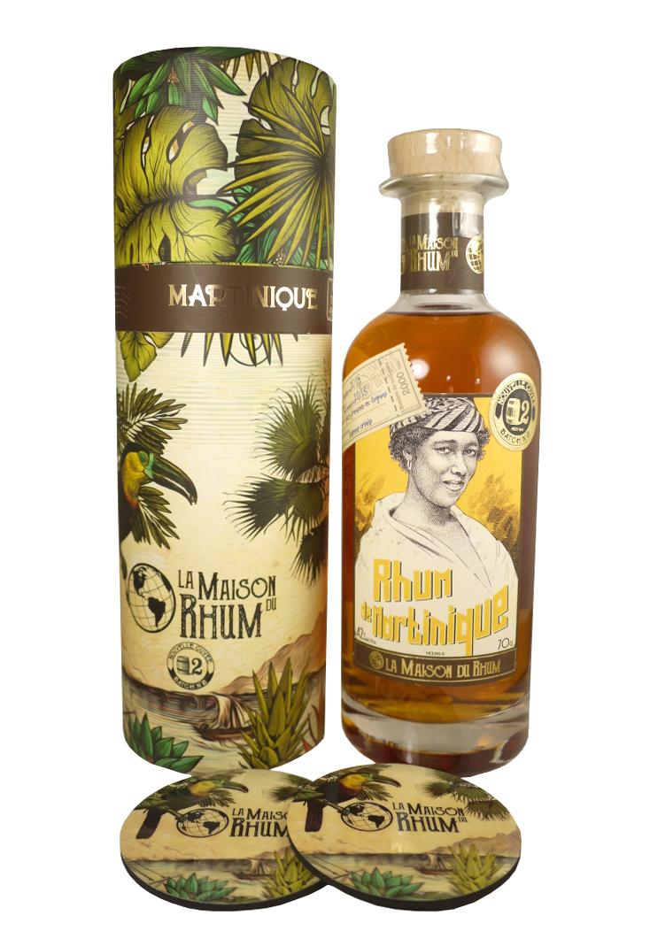 LA MAISON DU RHUM Martinique 42% | Distillerie La Mauny | 2 sous-verres inclus