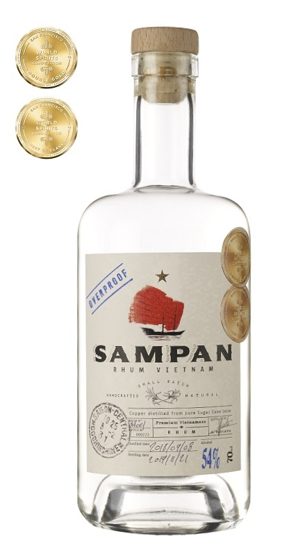 SAMPAN Overproof Pur Jus de Canne 54% | Rhum Blanc du Vietnam