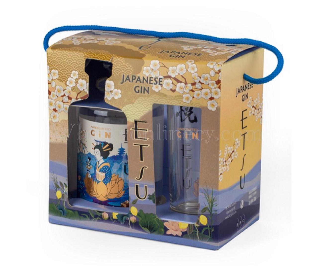Coffret Gin Japonais ETSU 43 %| 1 bouteille 70cl + 1 verre