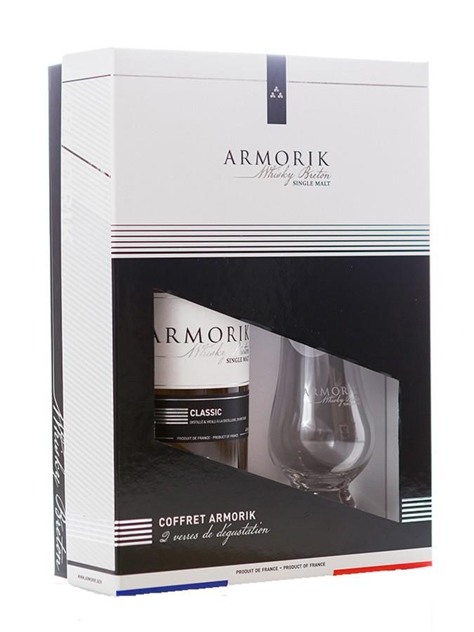 ARMORIK Classic Bio 46% | Coffret Dégustation 2 Verres | Single Malt Whisky Breton