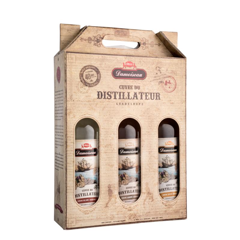 DAMOISEAU Cuvée du Distillateur | Coffret Découverte de Trois Rhums Agricole | Rhum Vieux, Ambré et Blanc