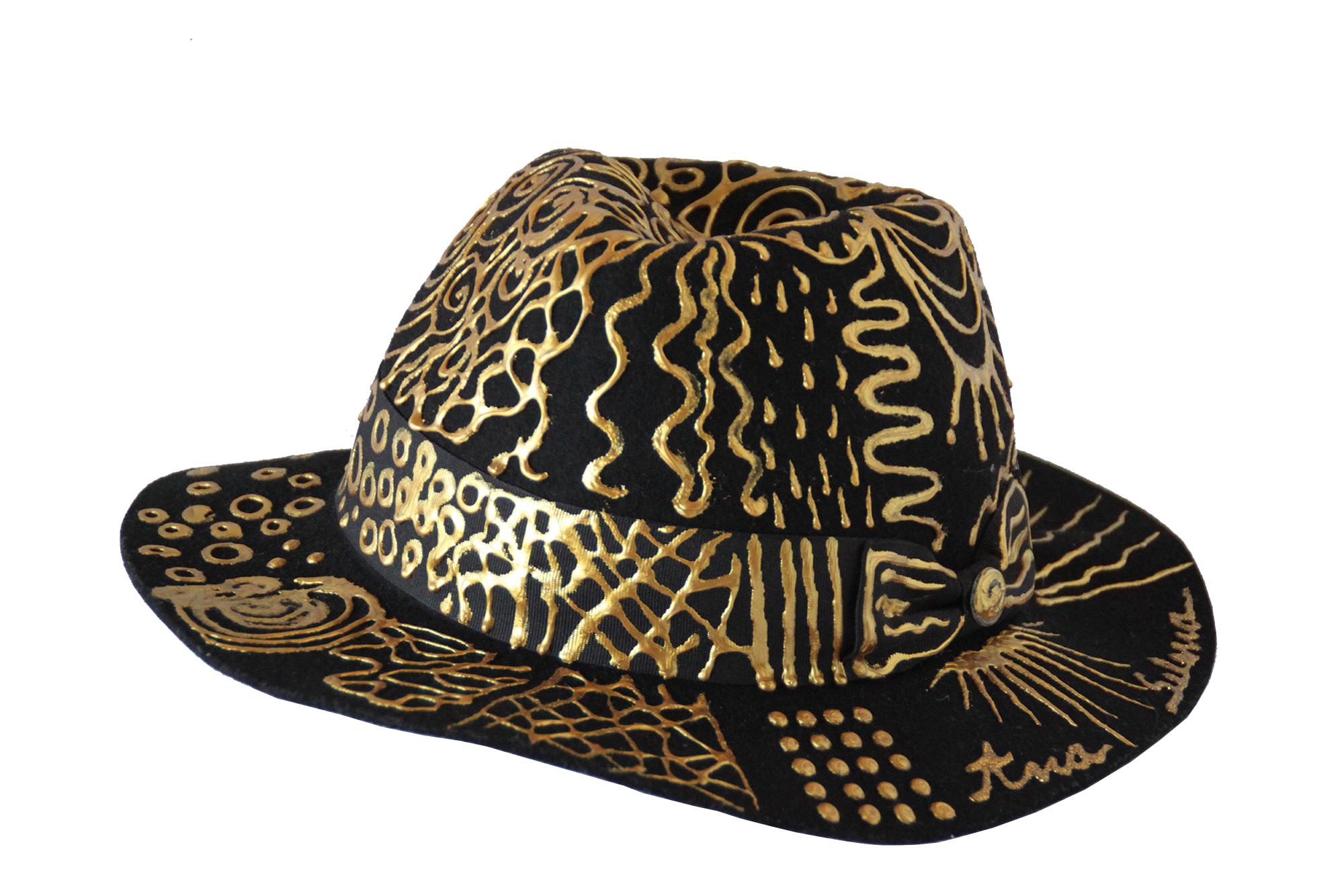 Chapeau Abstrait Or décoré à la main