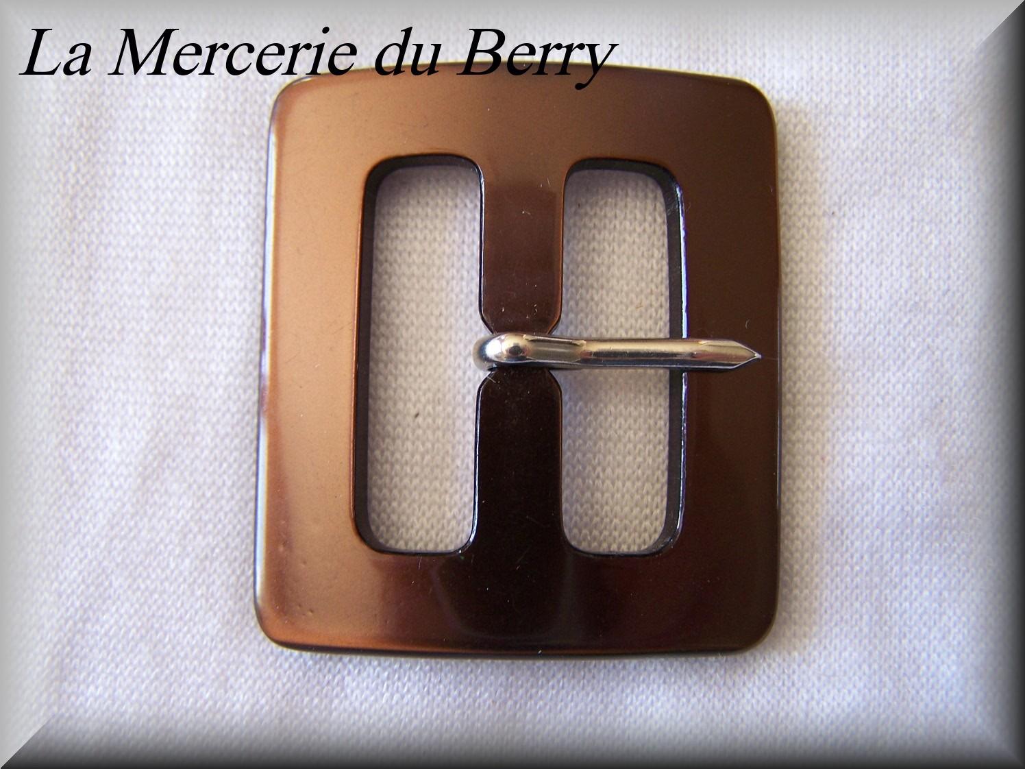 Boucle de ceinture, marron, 46 x 40 mm