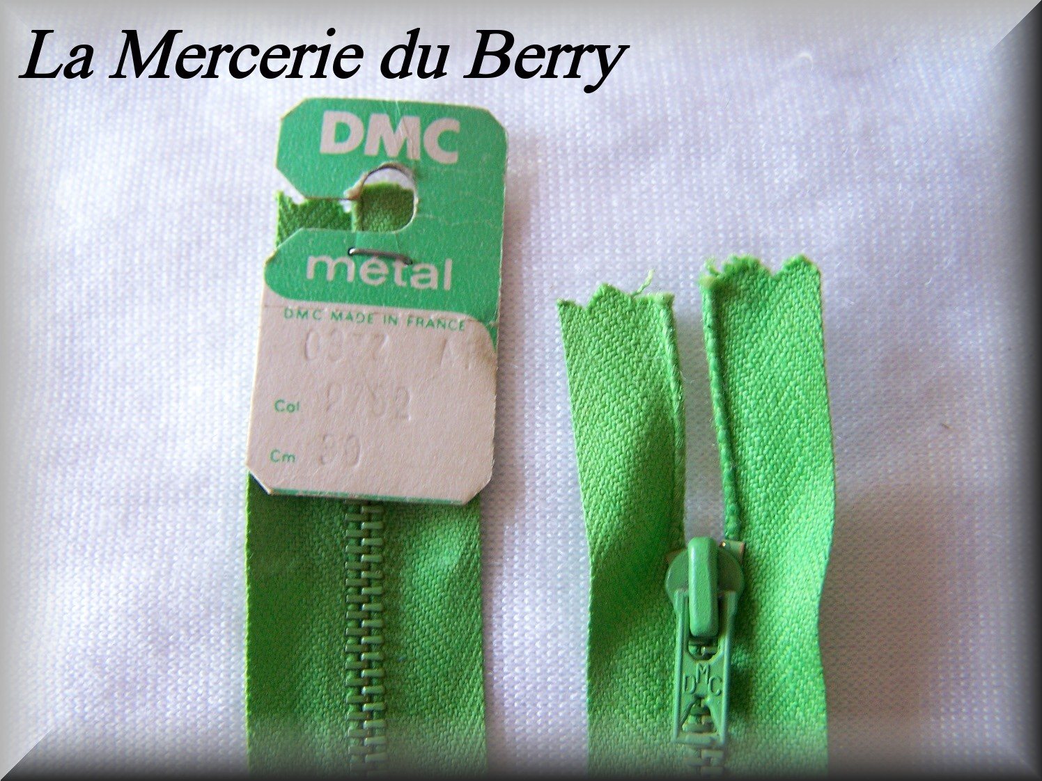 Fermeture éclair, métal, vert billard