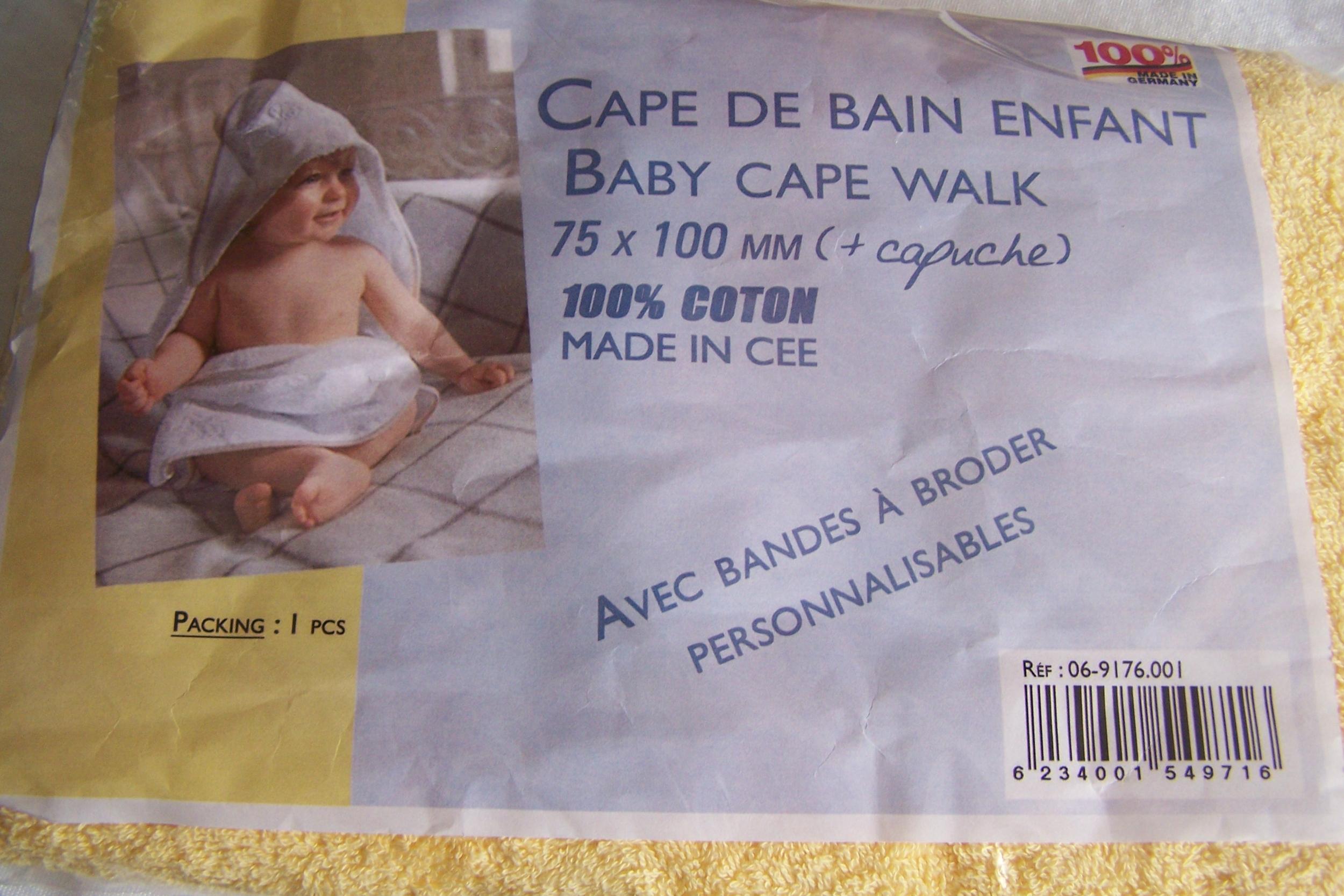 Cape de bain pour enfant, jaune gouvernail