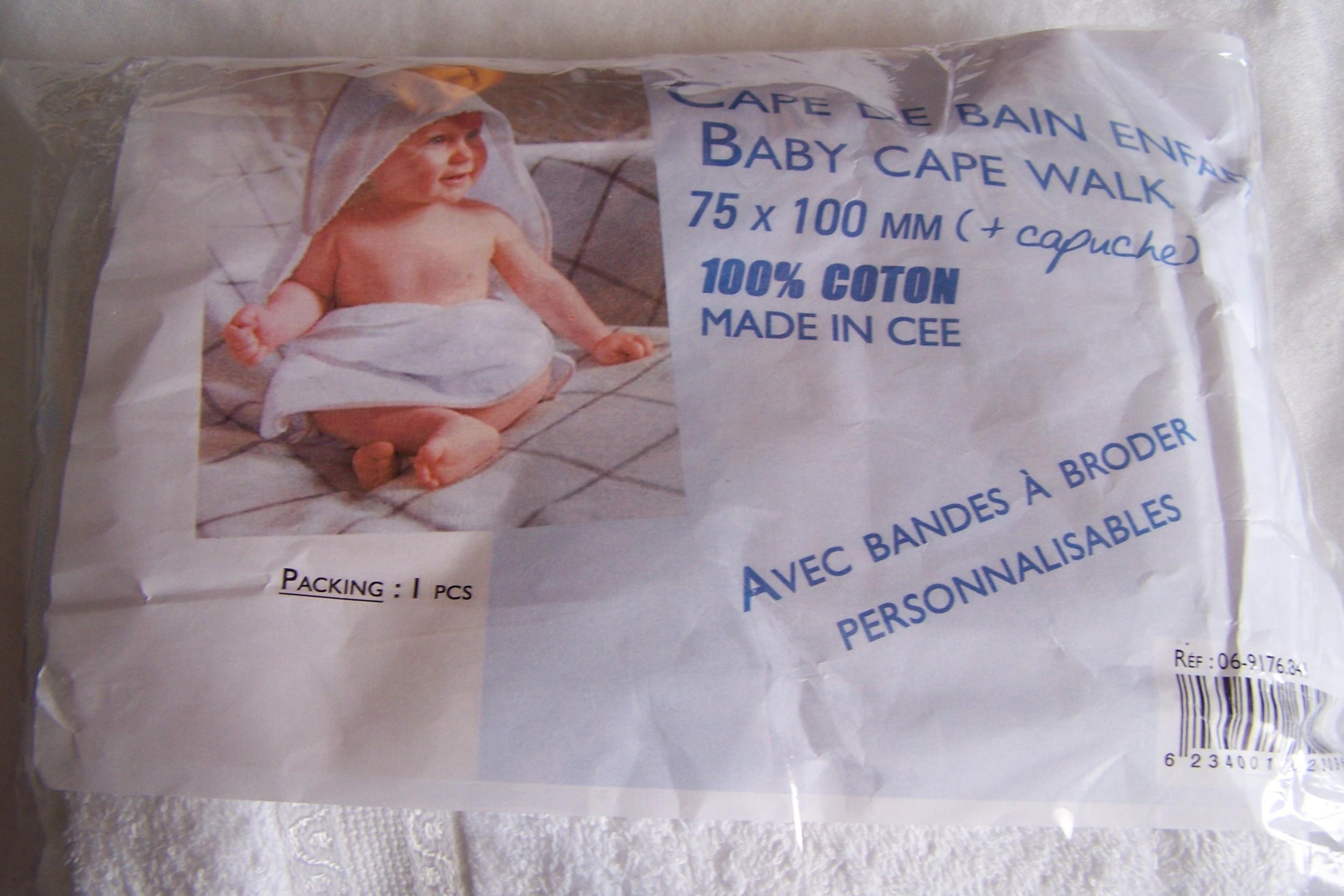 Cape de bain pour enfant, blanc
