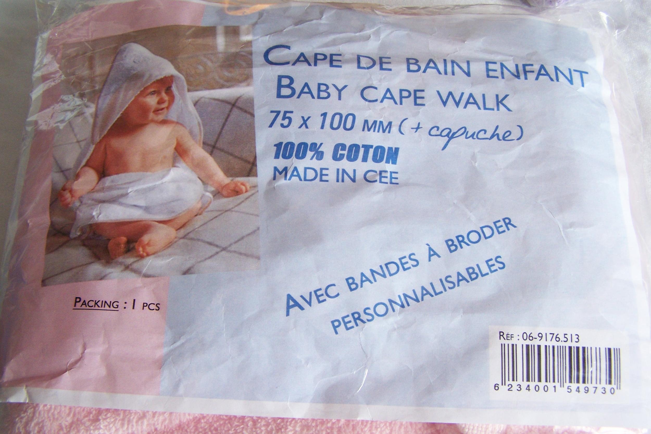Cape de bain pour enfant, rose