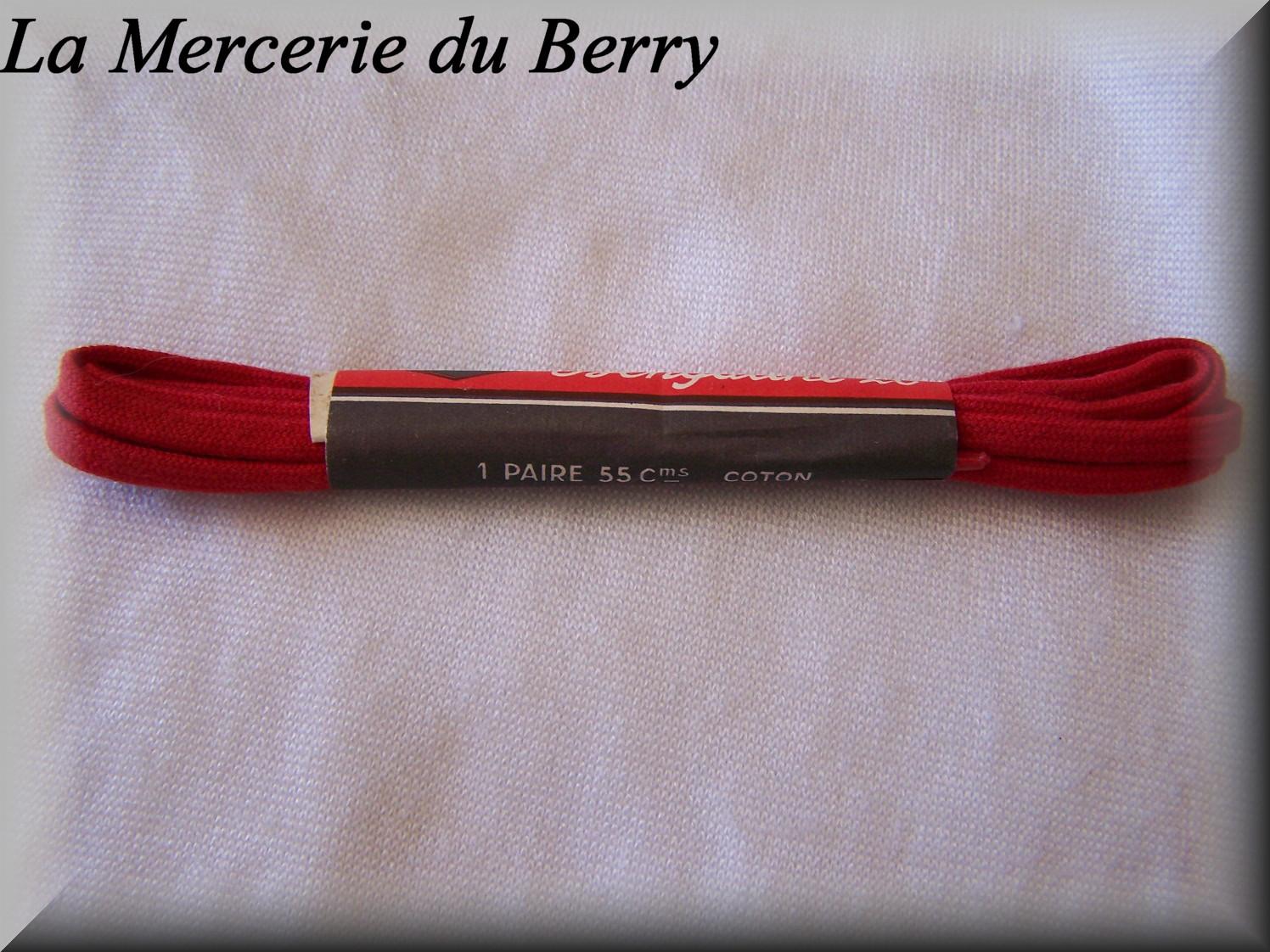 Lacet plat, rouge, 55 cm