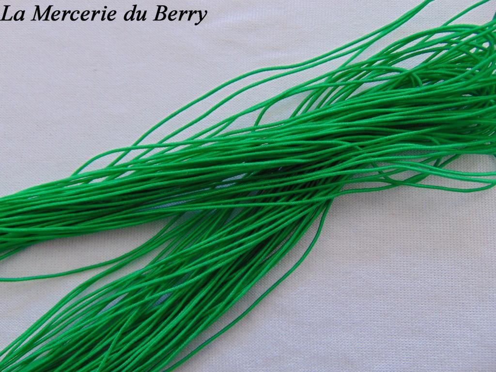 Elastique rond, vert, 1 mm