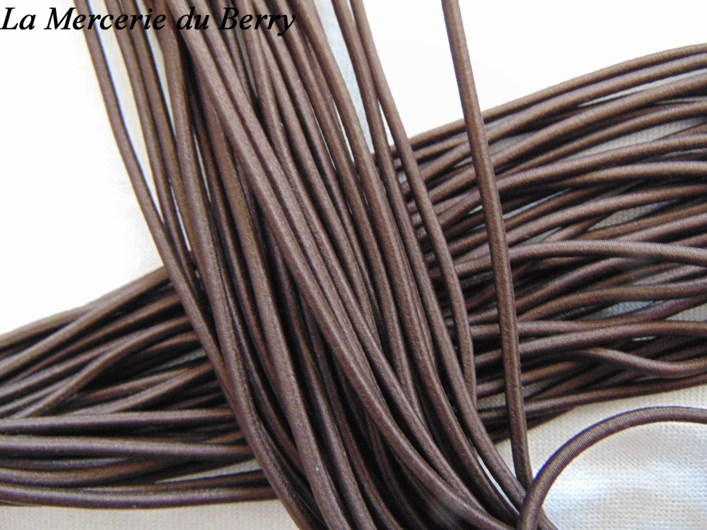 Elastique rond, marron foncé, 2.5 mm