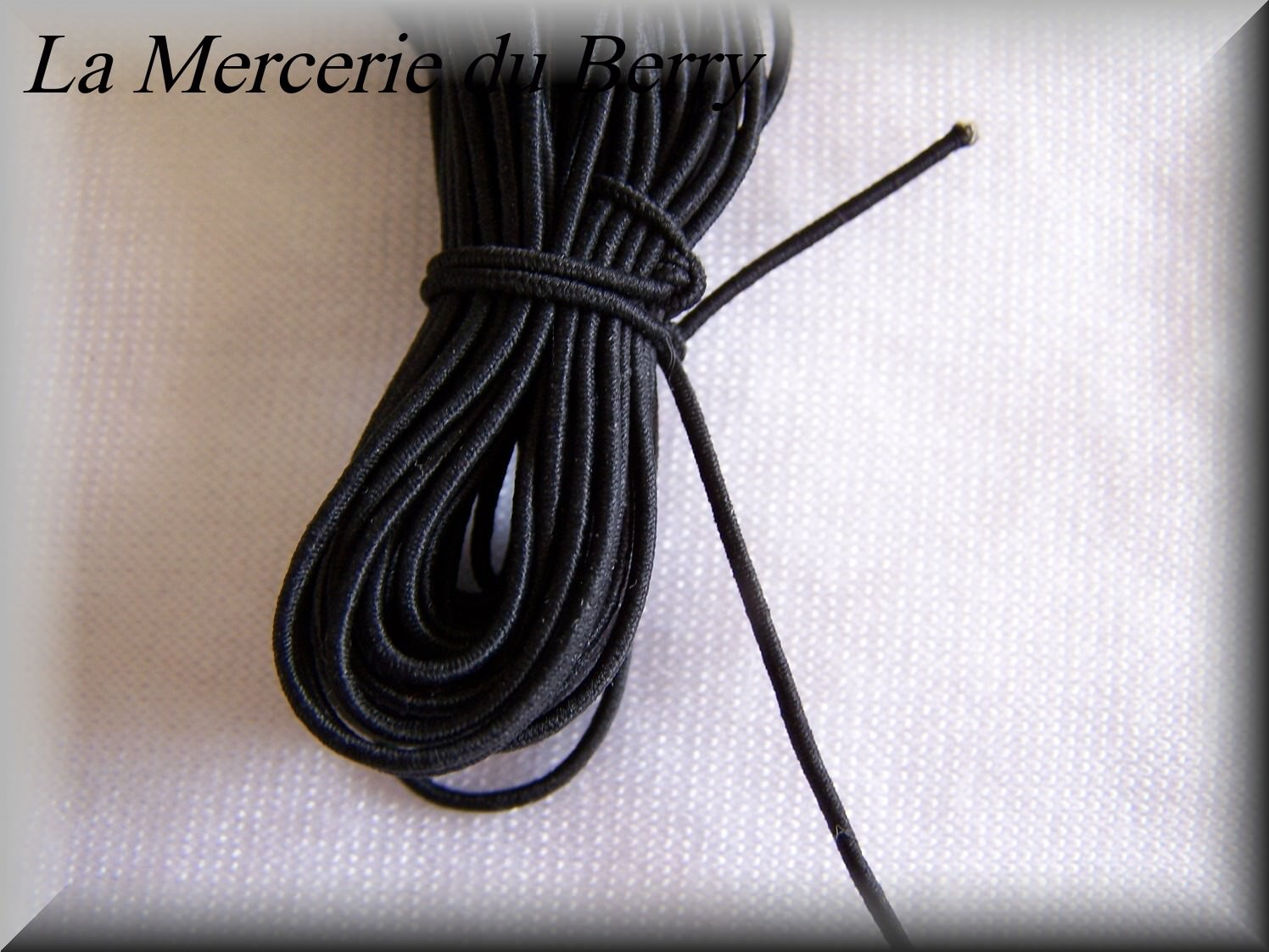 Elastique rond noir, 1 mm