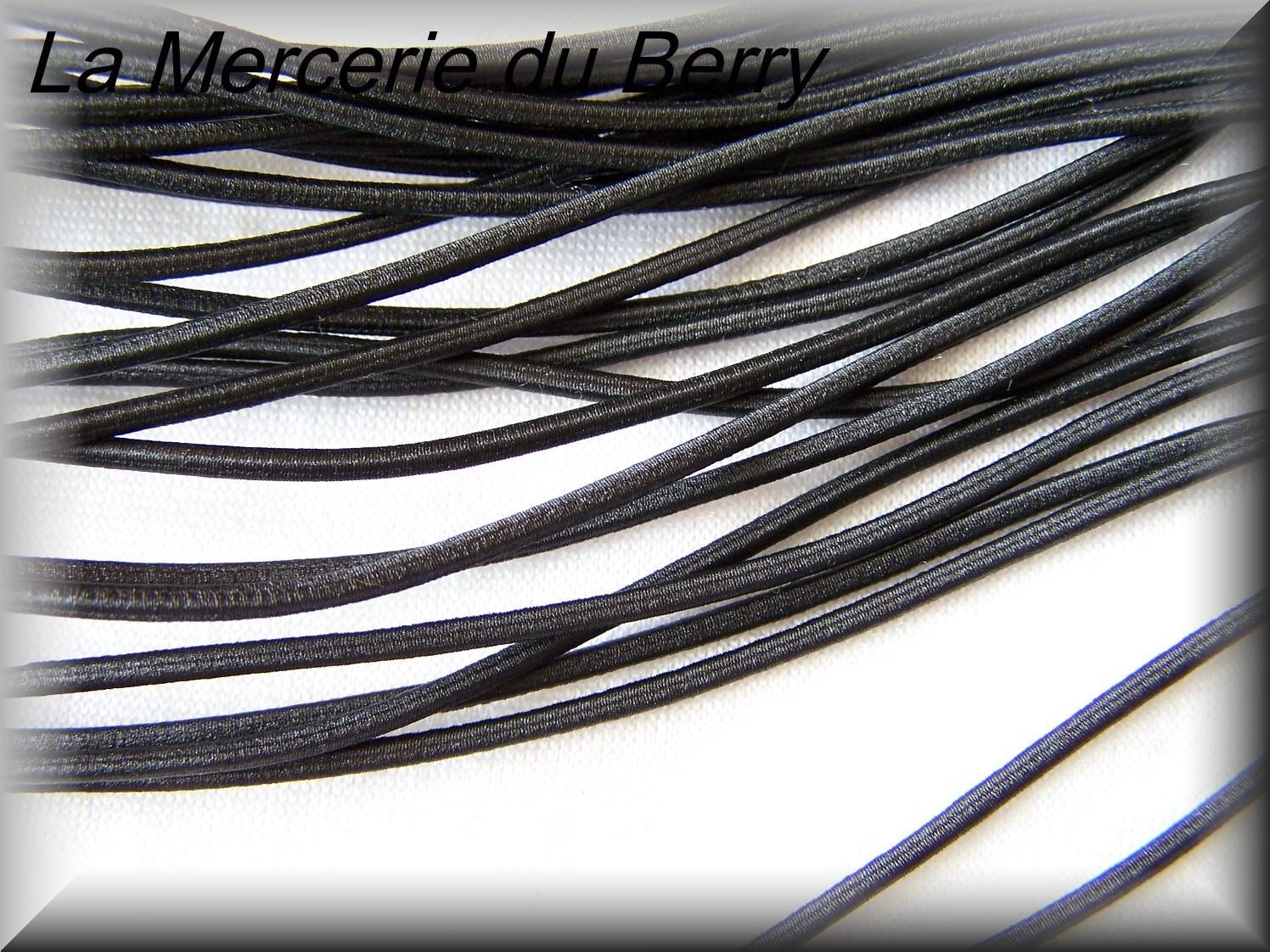 Elastique rond, noir, 2.5 mm