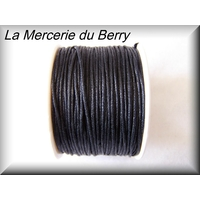 Cordon coton ciré noir