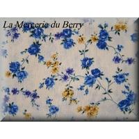 Tissu coton, liberty, fleur bleu
