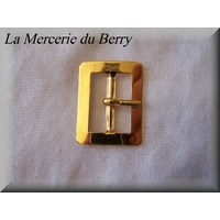 Boucle de ceinture, métal, doré, 28 x 23 mm
