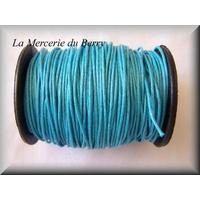 Cordon coton ciré bleu océan