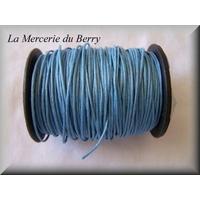 Cordon coton ciré bleu gris