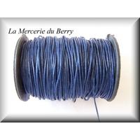 Cordon coton ciré bleu nuit