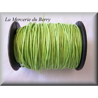 Cordon coton ciré jaune vert
