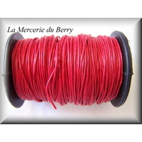 Cordon coton ciré rouge