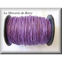Cordon coton ciré lilas