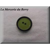 Bouton vert cerclé noir, 22 mm