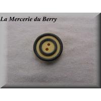 Bouton ivoire cercles noir, 22 mm