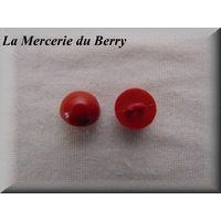 Bouton demie-boule, rouge, 14 mm