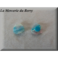 Bouton triangle marbré turquoise