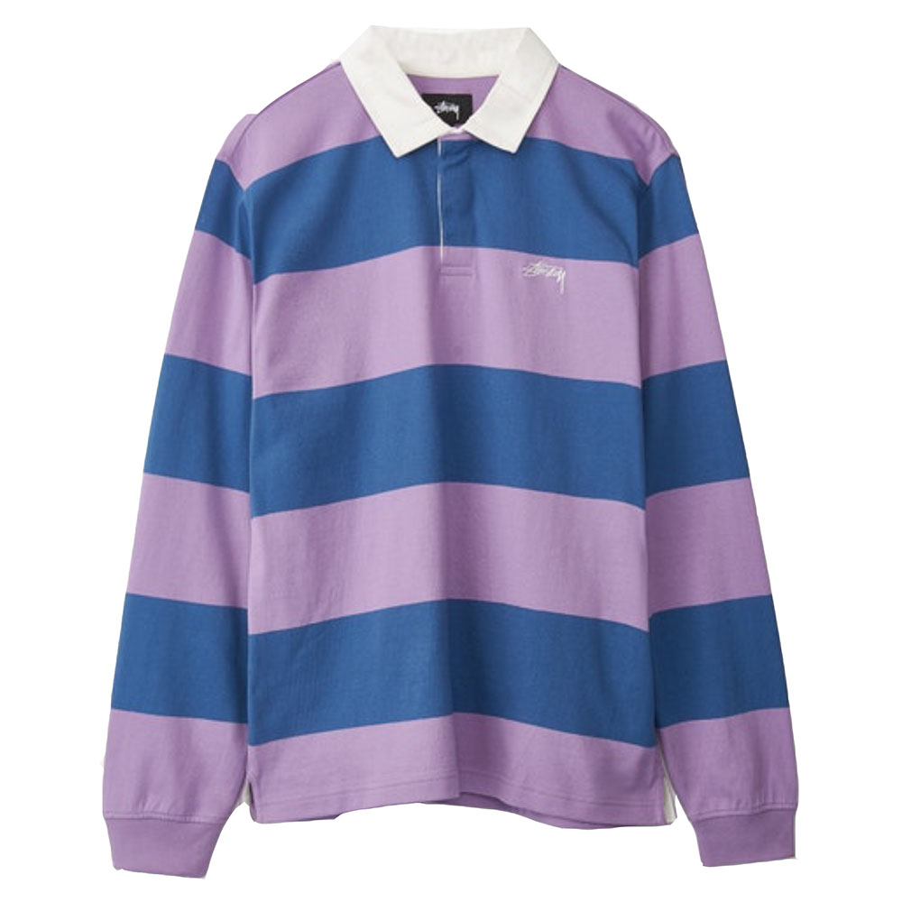 Polo-Rugby-Manches-Longues-Stussy-Rayé-Violet-Bleu-Marine