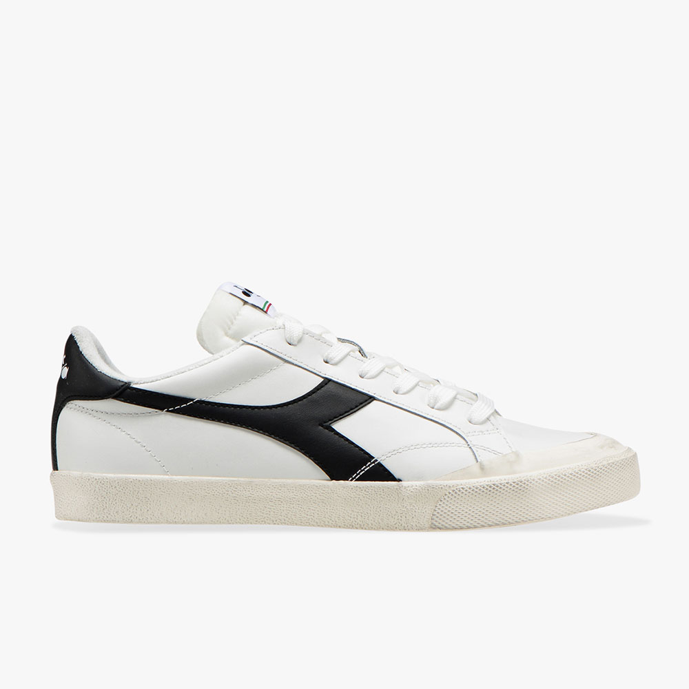 Basket-Diadora-Melody-Leather-Dirty-Blanche-Noire