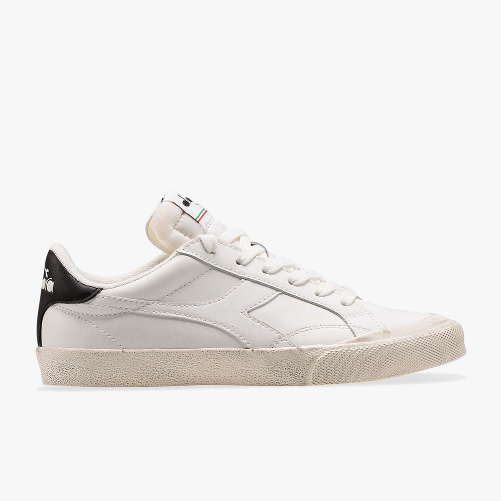 Basket-Diadora-Melody-Leather-Dirty-Noire-Blanche