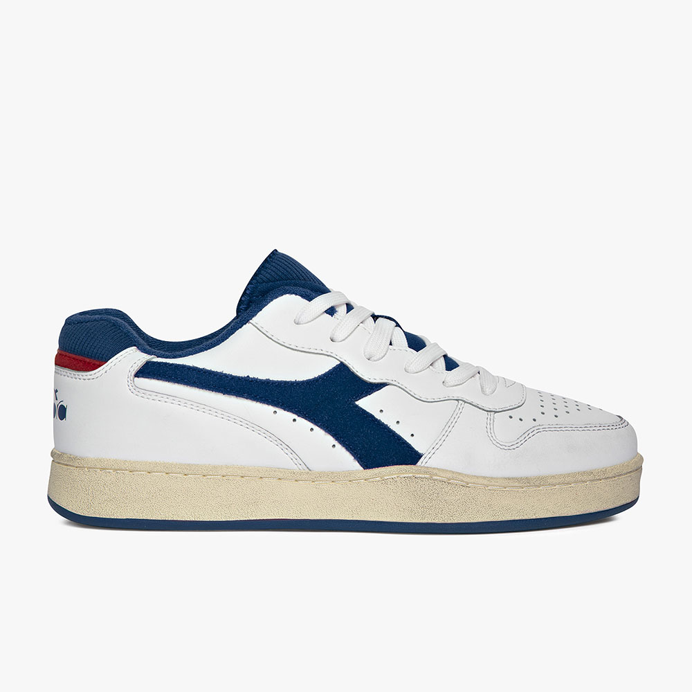 Basket-Diadora-Low-used-Blanche-Bleue