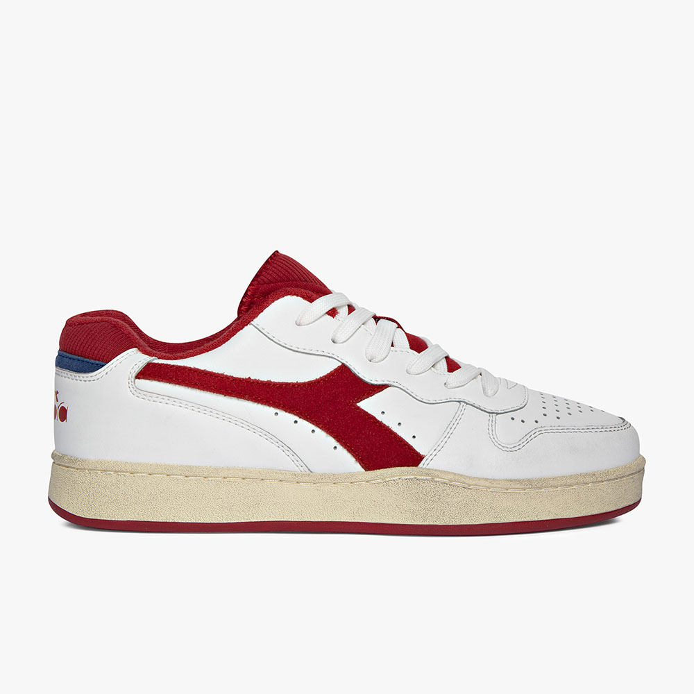 Basket-Diadora-Low-used-Blanche-Rouge