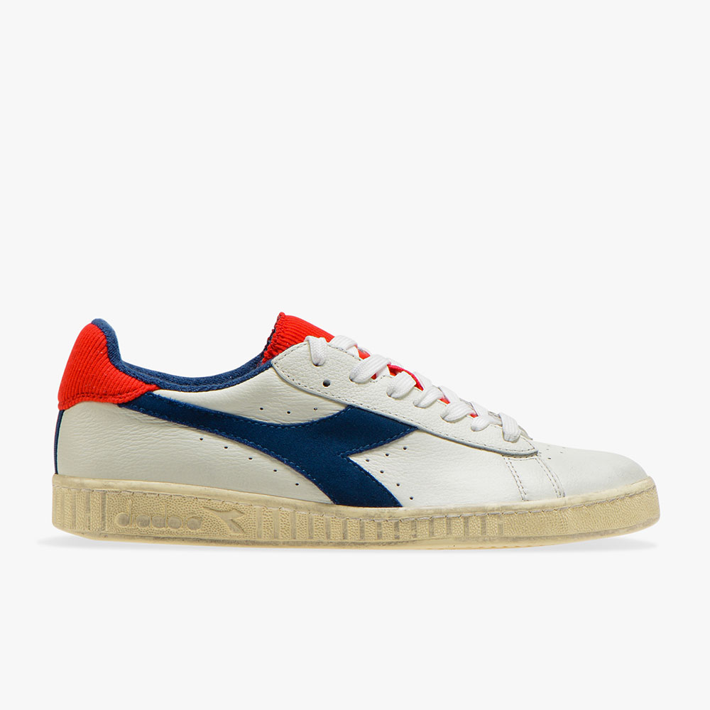 Basket-Diadora-Game-L-Low-used-Blanche-Bleue-Rouge