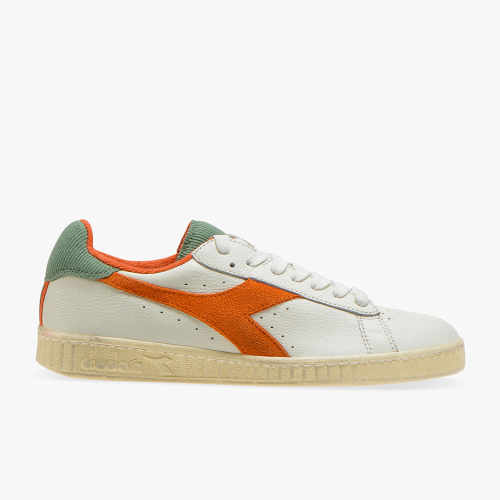 Basket-Diadora-L-Low-Used-Blanche-Orange
